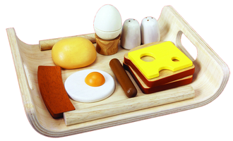 Frühstücksmenü auf Tablett