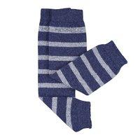 Stulpen aus Kaschmir/Merino Wolle blau mit grauen Streifen