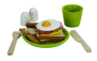 Frühstücksmenü auf Teller